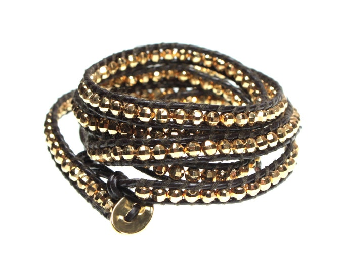Brown Leather Wrap Bracelet with Faceted Goldtone Beads Wraps 5x Around Wrist, Faceted Beads Sparkle and Catch The Light