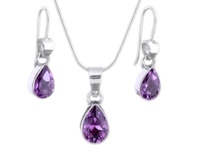 Pear Cut AMETHYST Gemstone Earrings and Pendant Necklace, Set, Handmade, 925 Sterling Silver - February Birthstone, Bridesmaids Jewelry