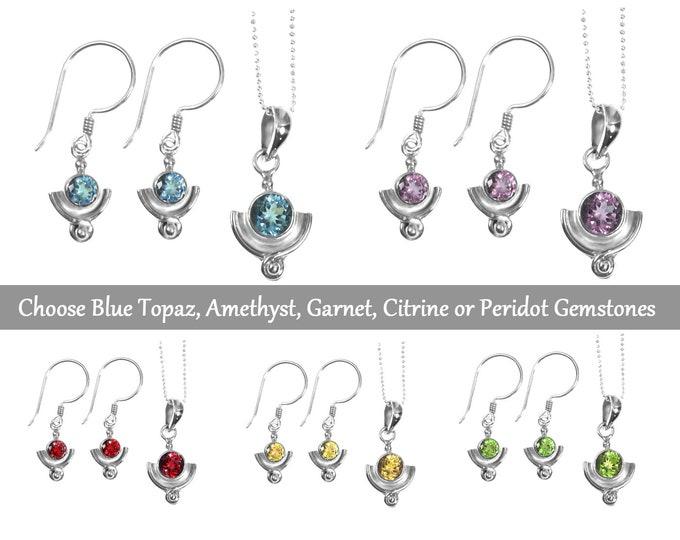 Blue Topaz, Peridot, Garnet, Amethyst, or Citrine Gemstone Sterling Silver Earring Necklace Set, Birthstone Jewelry, Handmade 925 Sterling