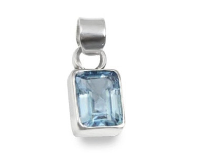 3.25 Carat Sky Blue Topaz Emerald Cut Pendant 925 Sterling Silver (December's Birthstone) in Gift Box - Free Shipping from California