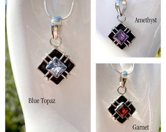 Blue Topaz or Garnet or Amethyst Sterling Silver Custom Design by BSJ