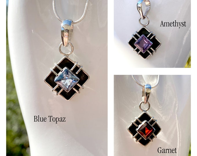 "Blue Topaz or Garnet or Amethyst Sterling Silver, Original Design, Birthstone Gemstone Pendant Necklace on 16"" or 18"" or 20"" Necklace Chain"