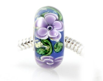 Tropical Blue and Purple Fiji Glass Bead - 925 Sterling Silver Interior Slide On Bead For European Style Snake Chain Charm Bracelets