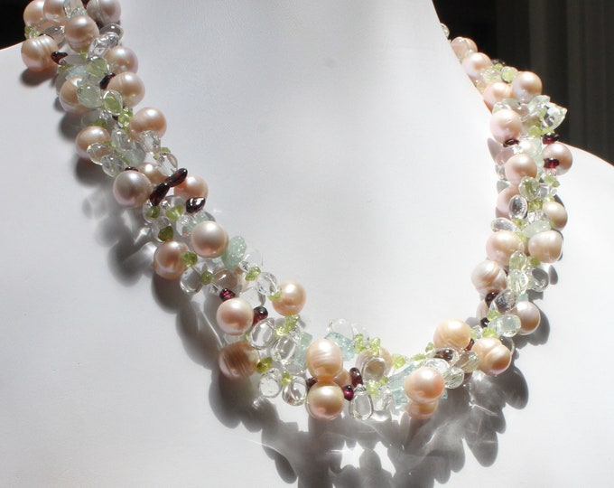 Freshwater Pearl and Gemstone Triple Strand Necklace