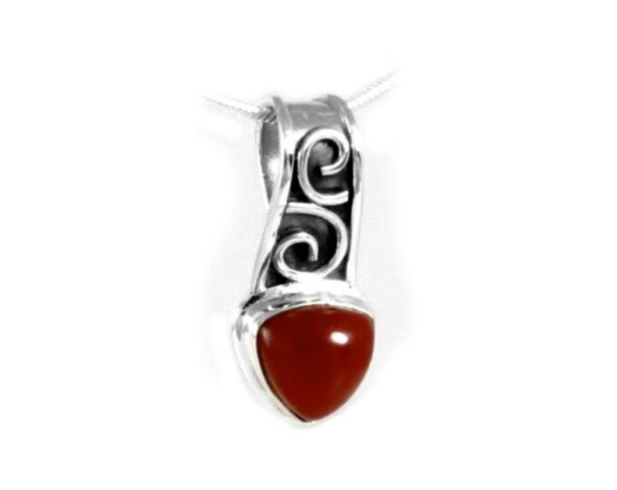 Carnelian Gemstone Trillion Cut Pendant Necklace Handcrafted in 925 Sterling Silver, Genuine Gemstone Handcrafted Celtic Design Bezel Set