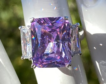 Lavender Lilac Emerald Cut 13x10 mm Large CZ Cubic Zirconia Statement Ring with Two 9x4 mm White Side CZ Sterling Silver