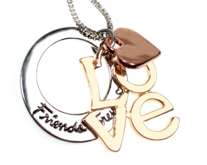 Friends Forever Three-tone Love and Heart Message Charm Necklace on 18 Inch Chain Comes in Gift Box