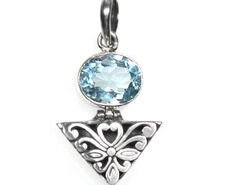 Ornate 3.5 Carat Blue Topaz Gemstone Pendant 925 Sterling Silver on 18 Inch Sterling Silver Snake Chain