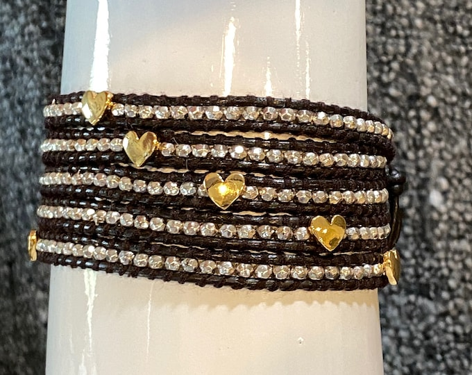"""Heart Bead 5x Wrap Bracelet with Faceted Silver Nuggets, Quality Hand Sewn Genuine Leather 39"""" Adjustable Wrap Bohemian Festival Bracelet"""
