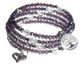 Tree of Life and Heart Charm with Iridescent Violet Purple Crystal Beads 5x Wrap Bangle Bracelet - Exclusively from Beautiful Silver Jewelry