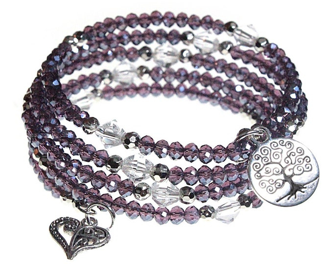 Tree of Life and Heart Charm with Iridescent Violet Purple Crystal Beads 5x Wrap Bangle Bracelet - Exclusively from BSJ