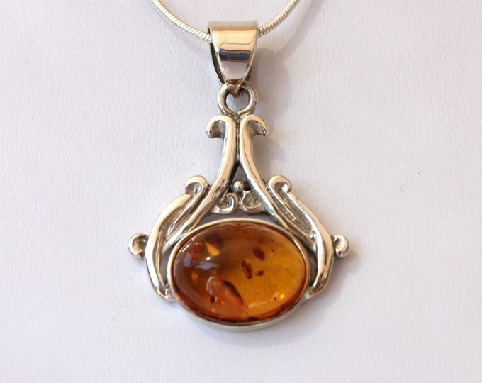 Baltic Amber Pendant Necklace - Choose Your Amber Stone, 2 Available - Ornate Sterling Silver Pendant from Beautiful Silver Jewelry