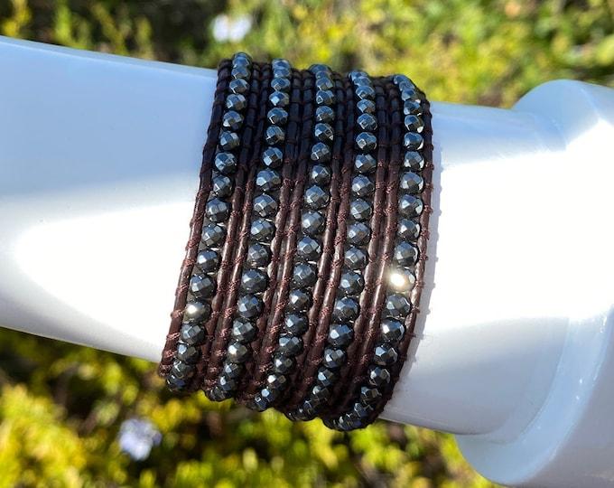 "Faceted Hematite Gemstone Wrap Bracelet ""Journey"" Quality Hand-sewn 5x Wrap Bracelet on Quality Brown Leather Bohemian Boho Festival Wrap"