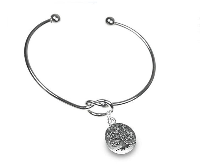 Personalized Simple Knot Bangle Bracelet, CHOOSE Your Charm