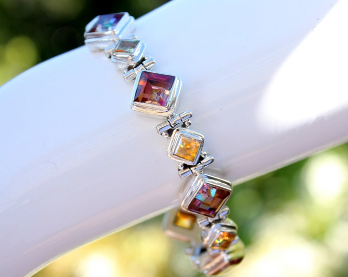 "Square-Cut Mystic Topaz Sunrise Orange Fire and Citrine Gemstone Bracelet in 925 Sterling Silver Adjustable Fit from 7"" to 8.5"" Wrist Size"
