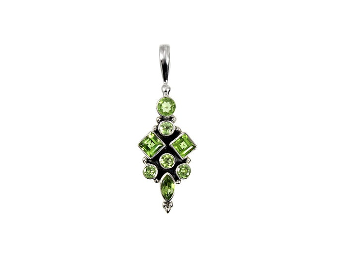 Peridot August Birthstone Pendant Necklace Handcrafted in Sterling Silver With Square, Round and Marquise Faceted Gemstones