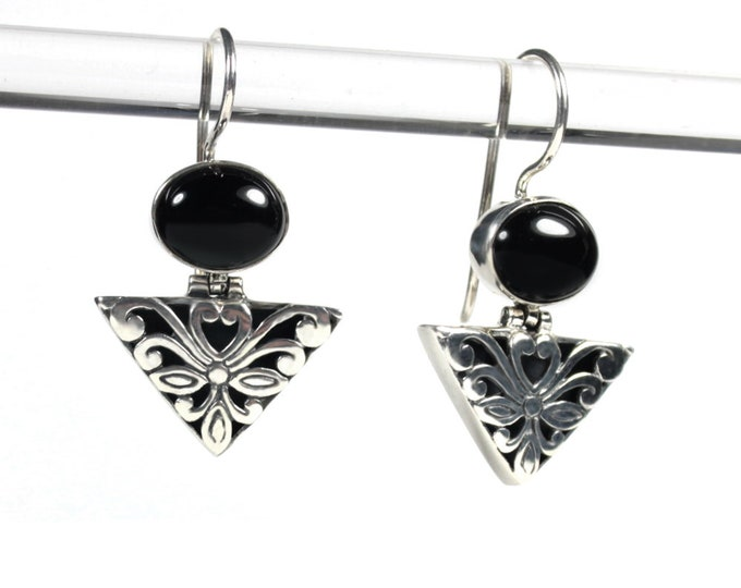 Black Onyx Sterling Silver Ornate Design Dangle Gemstone Earrings from Beautiful Silver Jewelry