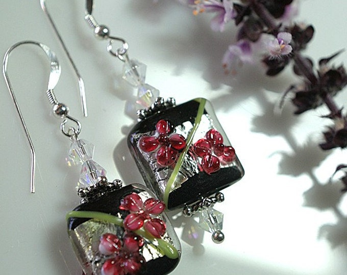 Red Flower on Silver Lampwork Bead Earrings with Sterling Silver Earwires, Exclusively from Beautiful Silver Jewelry
