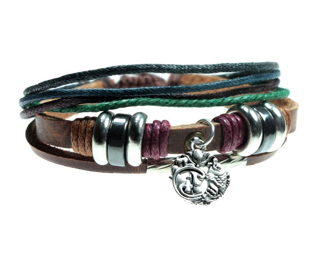 Lotus Fish Multi Strand Genuine Leather Bracelet - Quality Hand Made Beaded Wrap Zen Bracelet with Unique Adjustable Drawstrings in Gift Box
