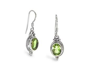 Oval Peridot Earrings Sterling Silver - August Gemstone Birthstone - 925 Sterling Silver Earwire Dangle Earrings - Beautiful Silver Jewelry
