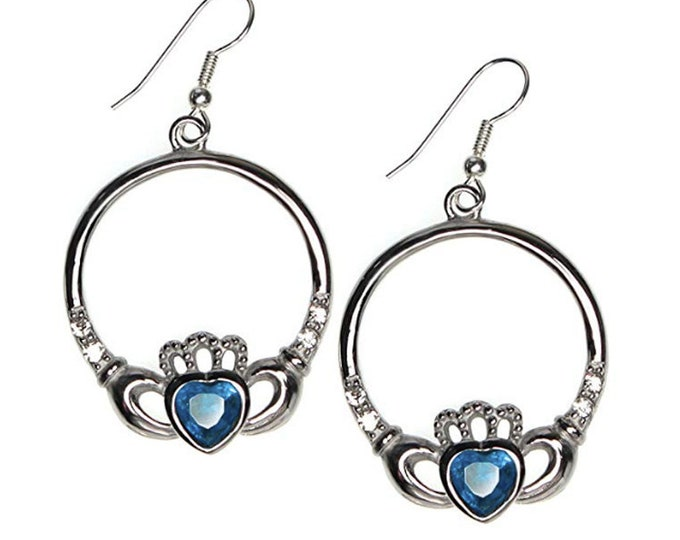 Celtic Earrings Heart and Hand Design with Faceted Blue Heart Sterling Silver Earwires Claddagh design: love, loyalty,friendship