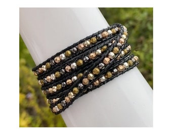 Faceted Mix Silver Gold Copper Gray Metal Bead Leather 5x Wrap Bracelet, Quality Hand Sewn on Black Leather Wraps Five Times Around Wrist