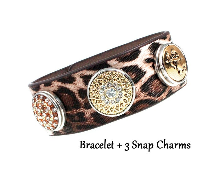Animal Print Adjustable Bracelet with Cupid and Crystal Snap On Button charms - chunk buttons - ginger snaps - snap button jewelry dyi