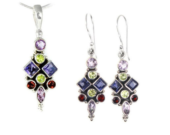 Iolite, Garnet, Peridot, Amethyst Gemstone Sterling Silver Pendant - Earrings -  Set -  Necklace - Exclusively from Beautiful Silver Jewelry