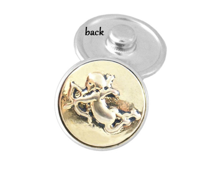 SNAP button - gold cupid snap charm - snap button - chunk buttons - ginger snaps - interchangeable jewelry - SNAP jewelry - snap chunk