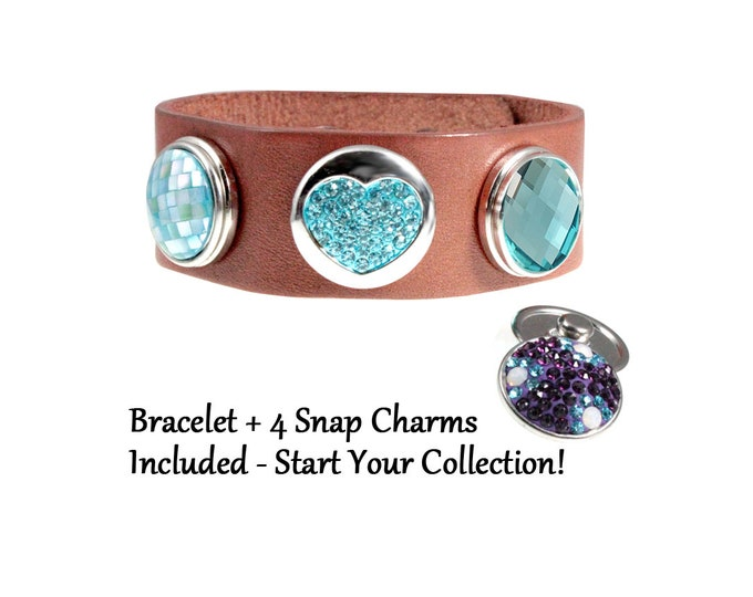 Teal Crystal Snap Charm Brown Leather Bracelet with FOUR snap charms - chunk buttons - ginger snaps - adjustable  SNAP jewelry charms