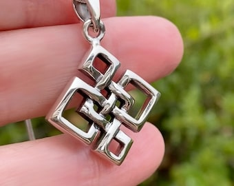 Celtic Square Everlasting Intertwined Knot Design Sterling Silver Pendant Necklace for Men and Women