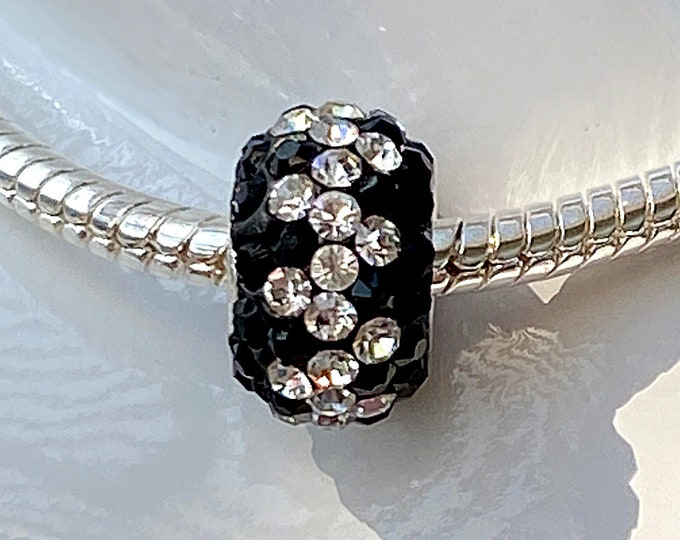 Black and White Crystal Bead Charm - Sterling Silver Style Slide On Bead For European Style Snake Chain Charm Bracelets