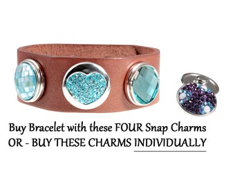 Teal Crystal Snap Bracelet or Buy Button Snap Charms Individually noosa style - chunk buttons - ginger snaps - SNAP jewelry charms