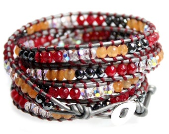 """Red Orange Agate Hematite and White Crystal Bead Wrap Bracelet on Silver Leather, Handcrafted in Extra Long 39"""" Length Fits Up To Plus Sizes"""