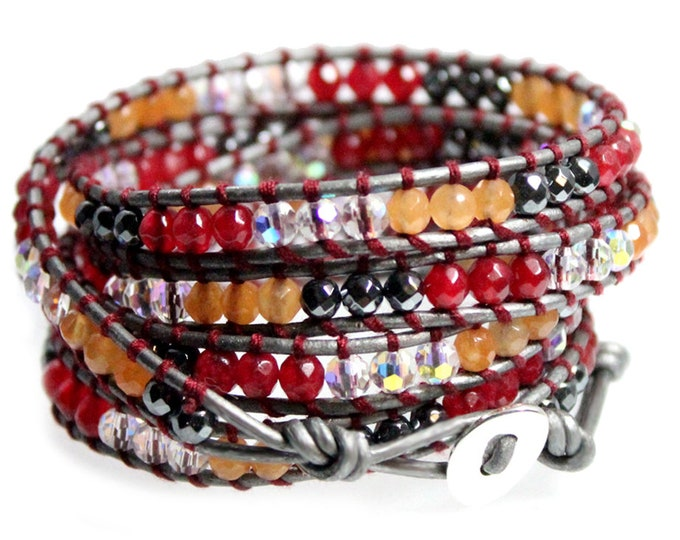 "Red Orange Agate Hematite and White Crystal Bead Wrap Bracelet on Silver Leather, Handcrafted in Extra Long 39"" Length Fits Up To Plus Sizes"