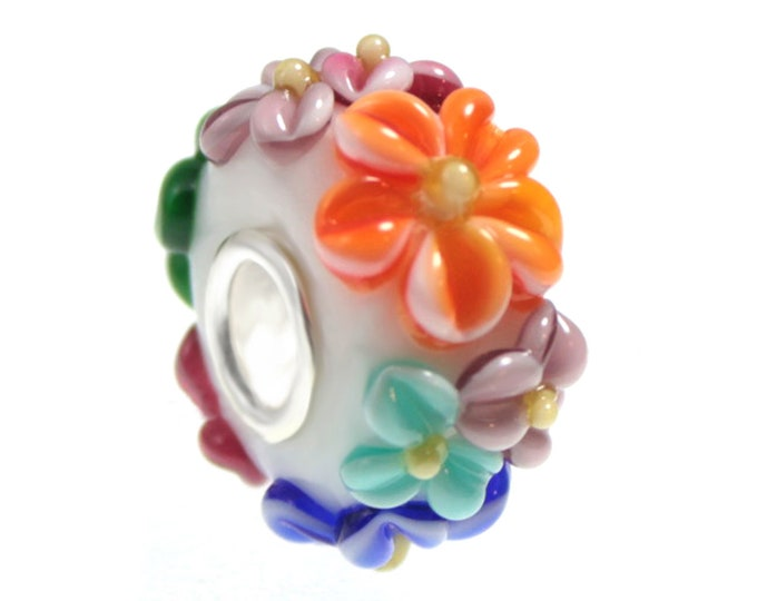 Spring Flowers Lampwork Glass Bead, 925 Sterling Silver Interior Slide On Bead For European Style Snake Chain Charm Bracelets - Save on More