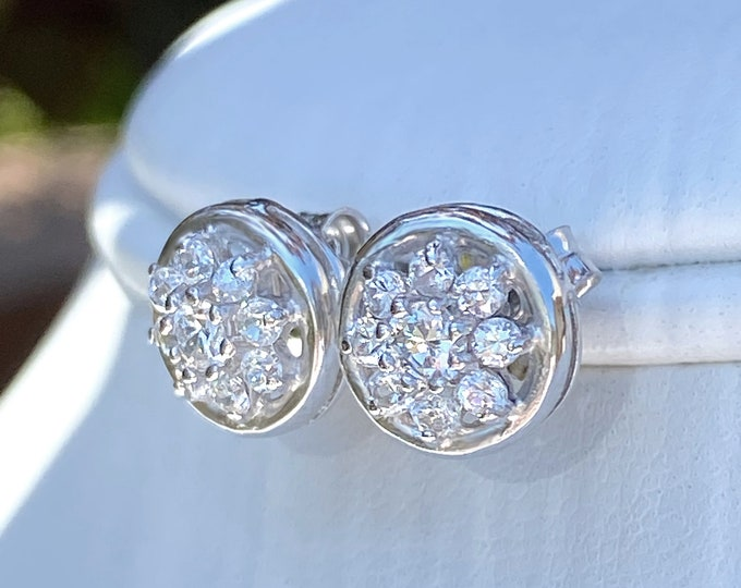 Sterling Silver Cubic Zirconia Elegant Round Sparkling CZ Post Earrings Holiday, Prom, Formal, Wedding, Bride, Bridesmaid Gift Stud Earrings