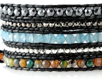 Hematite, Agate and Silver Bead 5x Genuine Leather Wrap Bracelet Quality Handcrafted in Extra Long Adjustable Length Beautiful Jewelry Gift