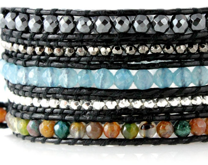 "Five Times Wrap Bracelet with Agate and Gemstone Beads Handsewn Black Leather, Quality Crafted in Extra Long 39"" Length Fits Up To Plus Size"