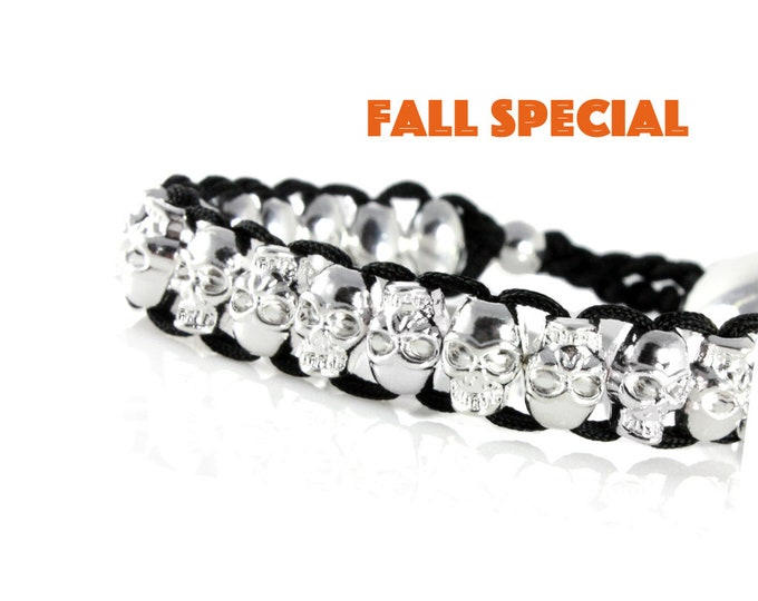 Skull  Bracelet Unisex on Woven Cord With Adjustable Pull Through Clutch for Fun Gift Halloween Wrap Men, Women, Teenagers, Boys and Girls