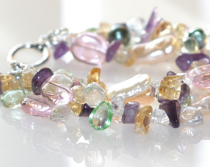 Pearl, Amethyst, Citrine, Crystal Beaded Triple Strand Gemstone Bracelet