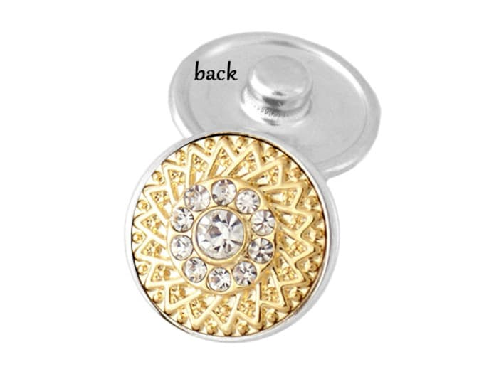 SNAP button - gold basketweave white crystal - snap button - chunk buttons - ginger snaps - interchangeable jewelry SNAP jewelry snap chunk