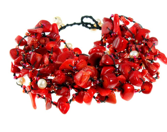Red Coral Nugget Multi Strand Bracelet with Freshwater Pearls Fits Small to Medium - Womens Bracelet, Beach Jewelry, Red Bangle
