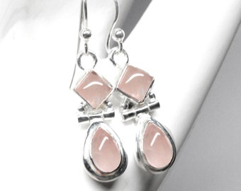 Rose Quartz Earrings Sterling Silver Available with A Rose Quartz and Amethyst Pendant Necklace or Set, Designed by Beautiful Silver Jewelry