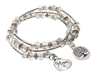 MOM Charm and Tree of Life Charm Faceted Glass Bead Triple Wrap Silvertone Bangle Wrap Bracelet - Exclusively from Beautiful Silver Jewelry