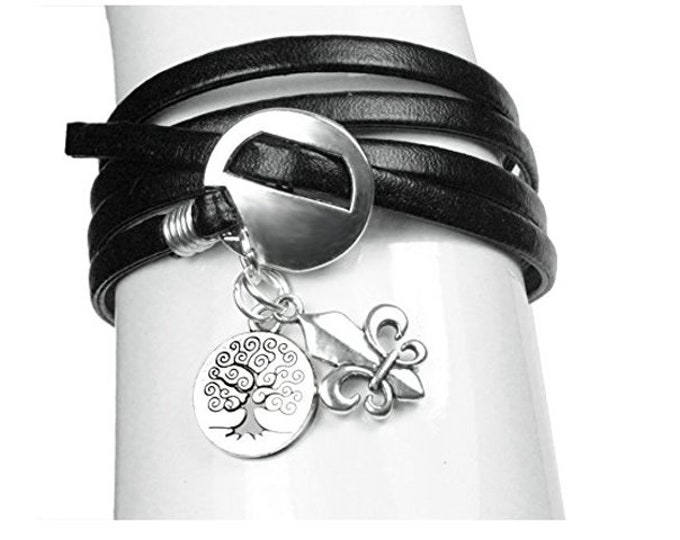 Black Leather Wrap Bracelet Tree of Life and Fleur De Lis Celtic Charm Bracelet - Exclusively from Beautiful Silver Jewelry