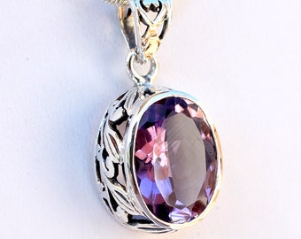 Amethyst Oval 6 ct. Faceted Gemstone Pendant 925 Sterling Silver Leaf Design - February Birthstone and 6th Year Anniversary Gemstone