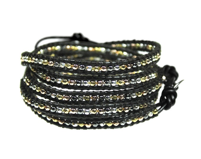 Small Nugget Mixed Metal Bead Wrap Bracelet on Black Leather Hand Crafted Extra Long Length, Quality Hand Sewn 5x Wrap Bracelet