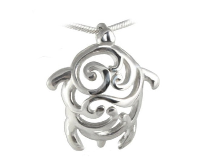 Swirl Design Turtle Sterling Silver Pendant for Men, Women, Boys and Girls