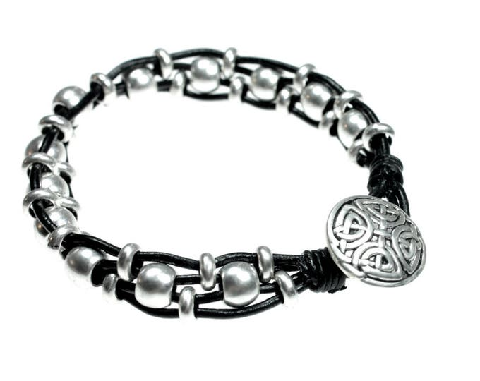 Celtic Design Black Leather Beaded Bracelet - Free Shipping (from California)